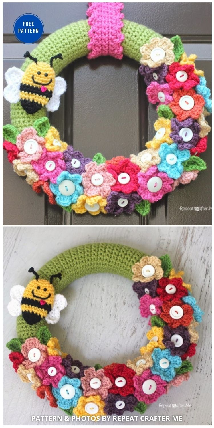 Crocheted Spring Wreath - 11 Free Spring Easter Wreaths Crochet Patterns