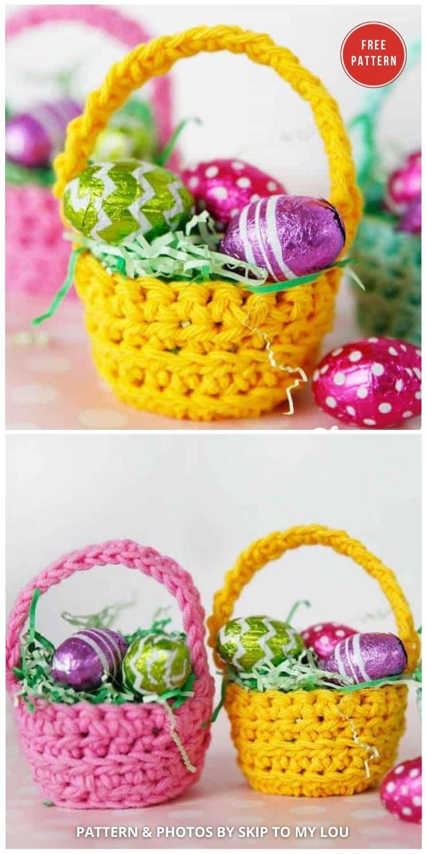 Cutest Mini Crochet Basket Pattern - 10 Free Patterns For Cute Easter Baskets