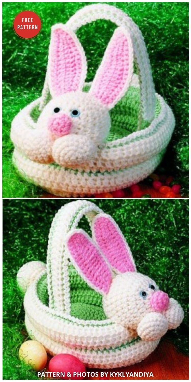 Easter Bunny Basket - 10 Free Patterns For Cute Easter Baskets - INDIVIDUAL