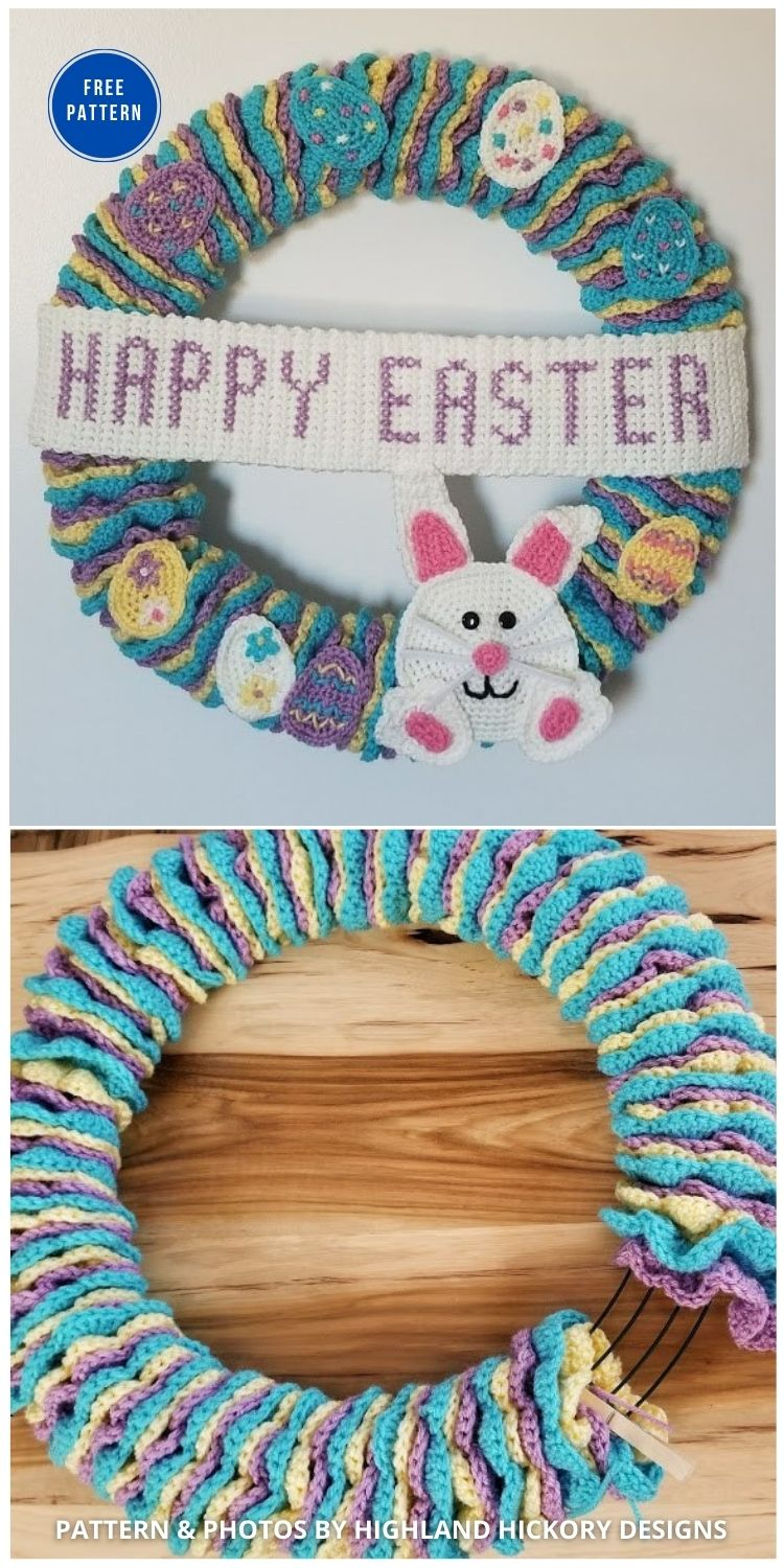 Easter Wreath - 11 Free Spring Easter Wreaths Crochet Patterns