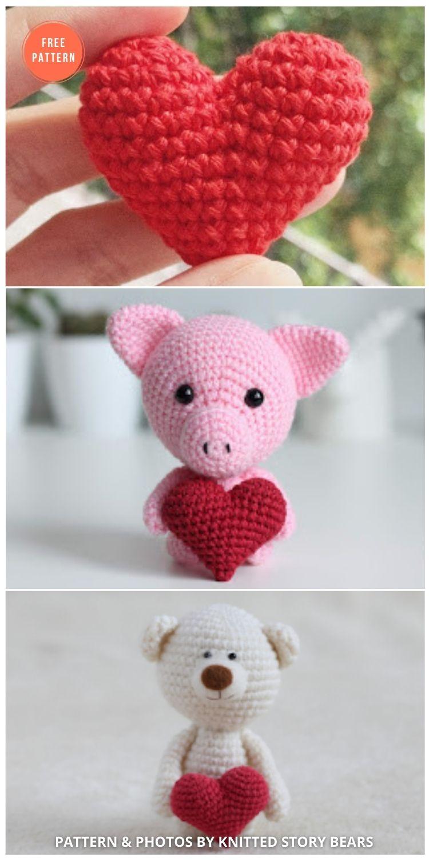 Easy Crochet Heart Free Pattern - 10 Free Amigurumi Hearts Crochet Patterns