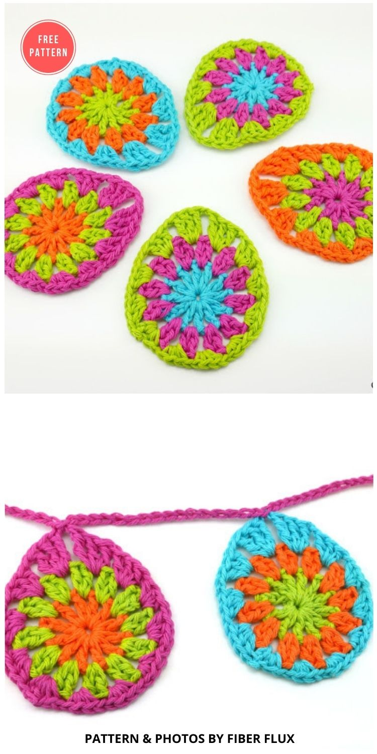Granny Eggs and Garland - 13 Free Easter Garland Crochet Patterns