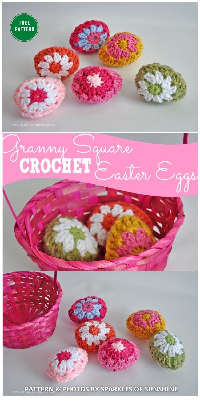 Granny Square Crochet Easter Eggs - 12 Free Easter Egg Crochet Patterns