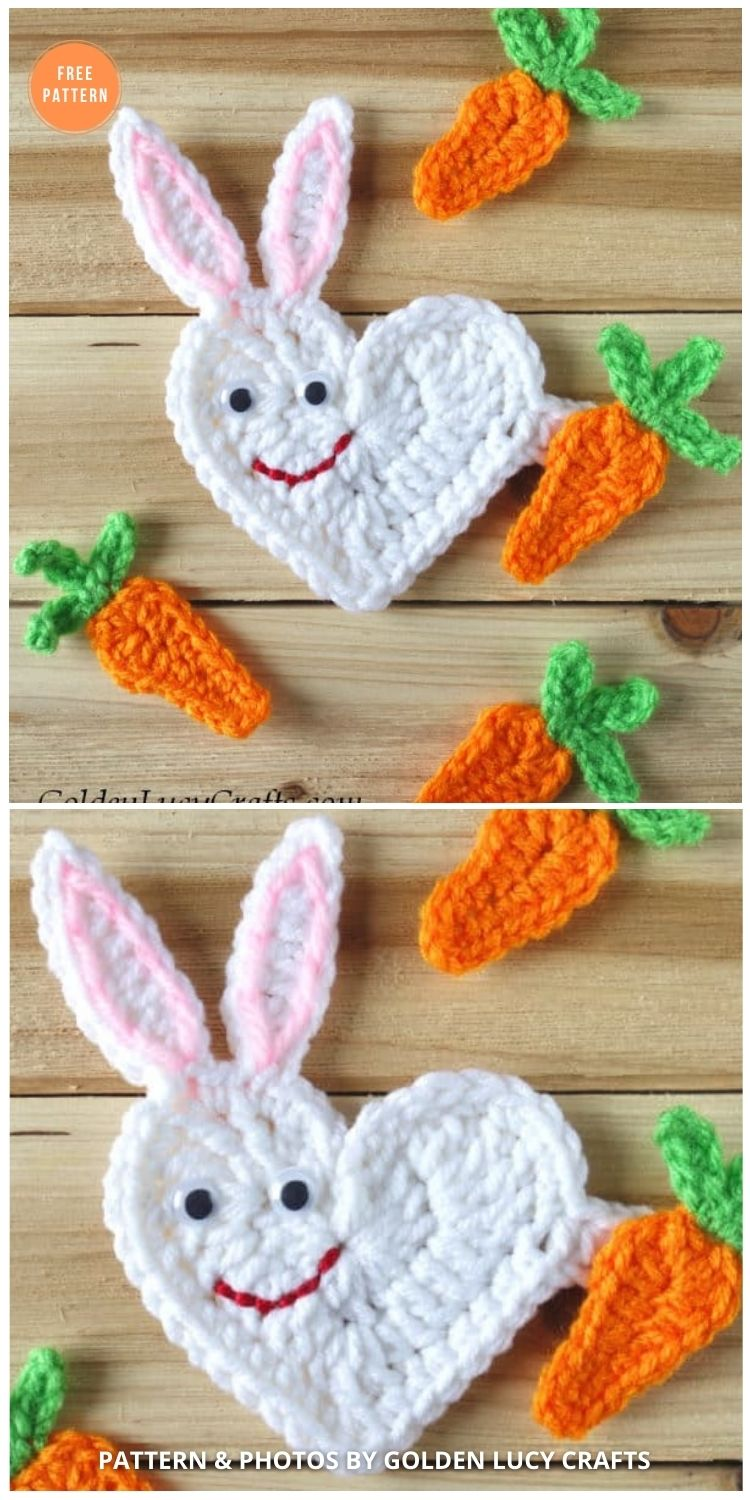 Heart Easter Bunny Applique - 11 Free Easter Bunny Appliques Crochet Patterns
