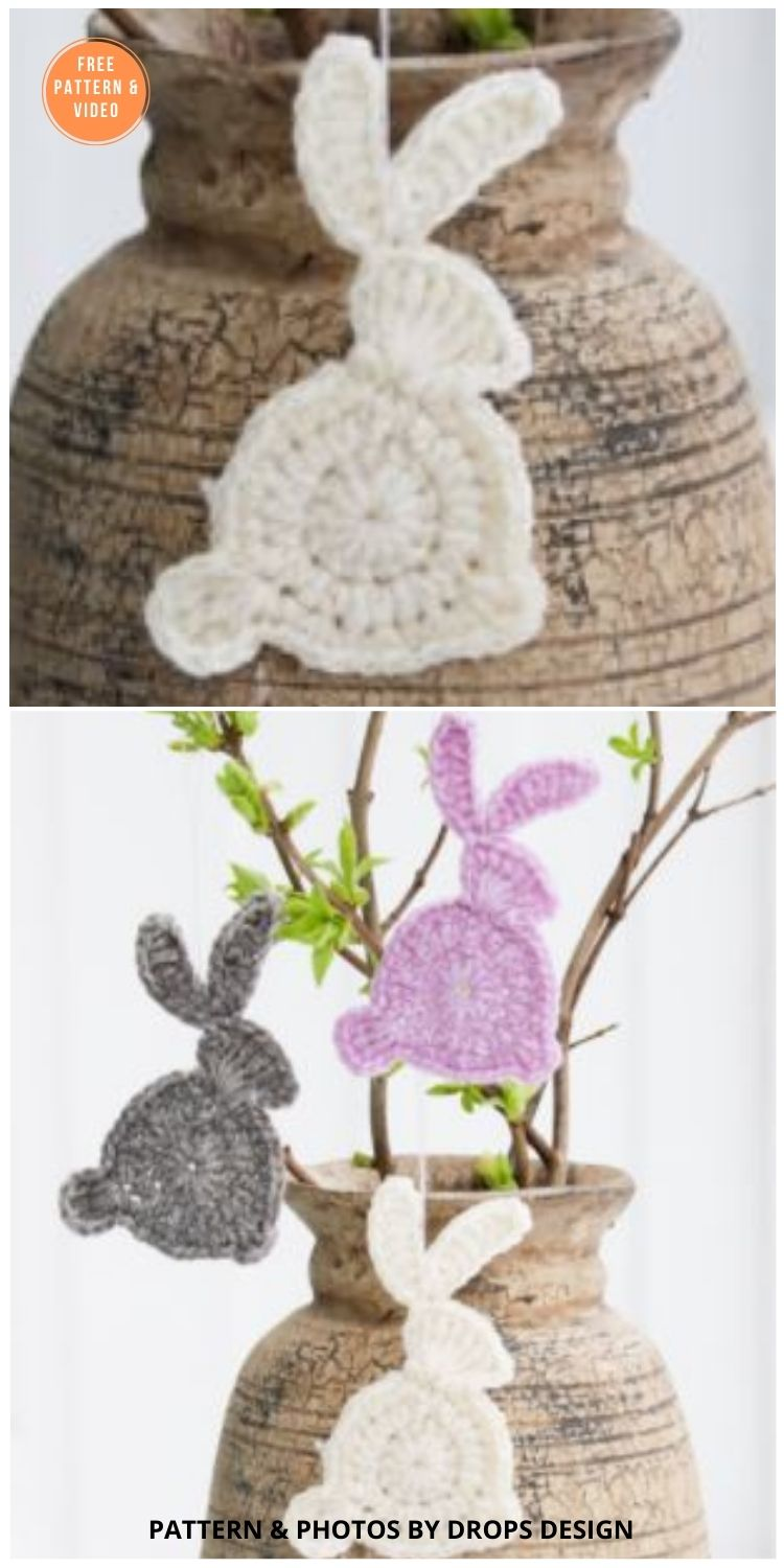 Hoppity Hop - 11 Free Easter Bunny Appliques Crochet Patterns