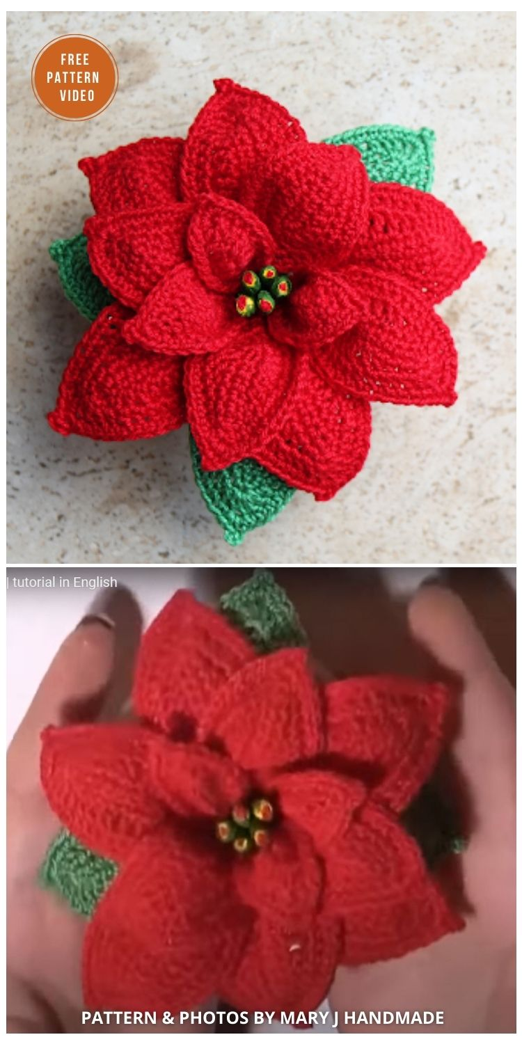 How To Crochet A Poinsetti - 8 Free Crochet Poinsettia Flower Patterns