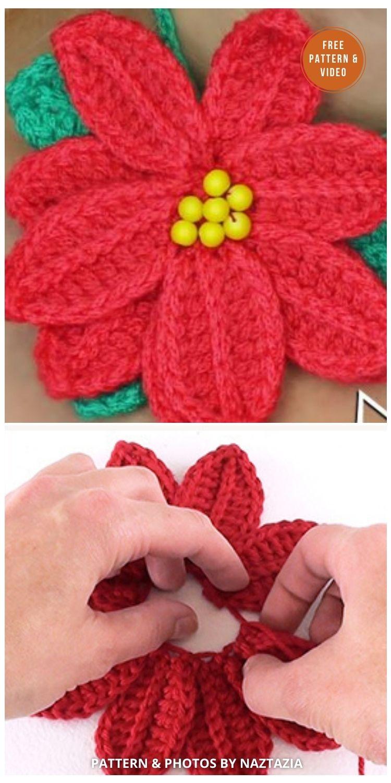 How To Crochet A Poinsettia Christmas Flower - 8 Free Crochet Poinsettia Flower Patterns