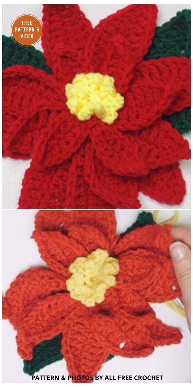 How to Crochet a Poinsettia - 8 Free Crochet Poinsettia Flower Patterns