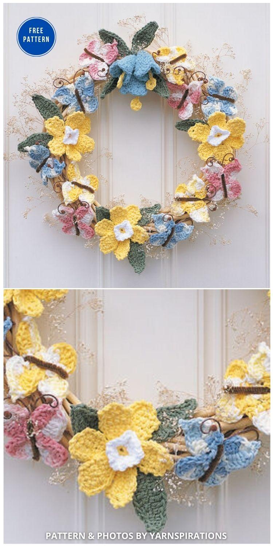 Lily Sugar' n Cream Celebrate Spring - 11 Free Spring Easter Wreaths Crochet Patterns