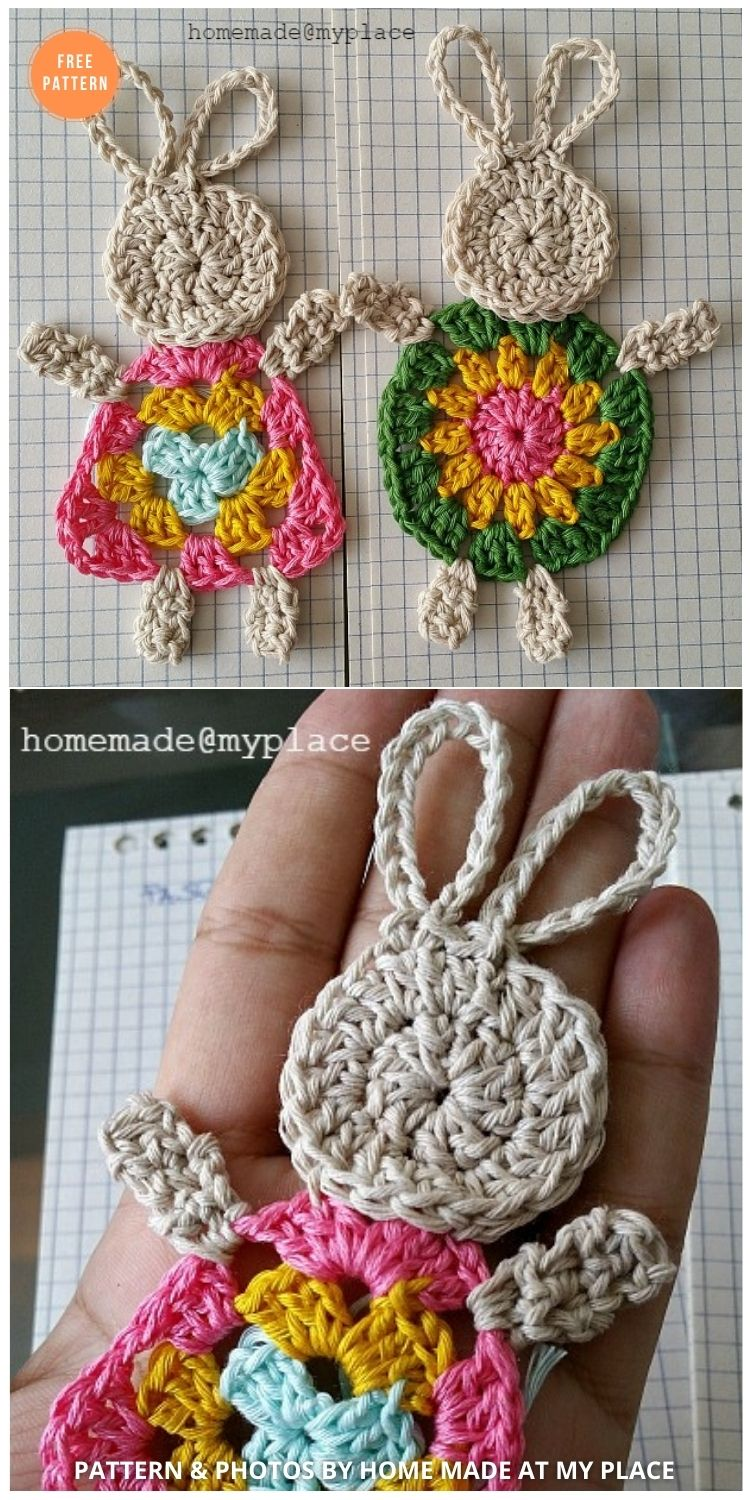 Make it ! The Granny Bunny !!! - 11 Free Easter Bunny Appliques Crochet Patterns
