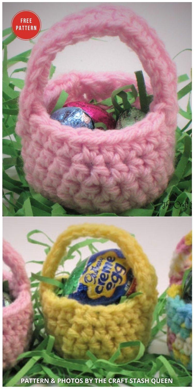 Mini Crochet Easter Basket - 10 Free Patterns For Cute Easter Baskets