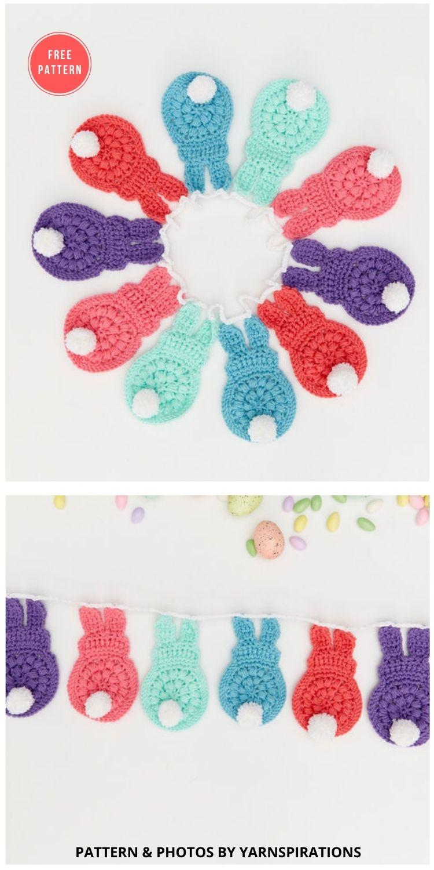 Red Heart Bunny Garland - 13 Free Easter Garland Crochet Patterns