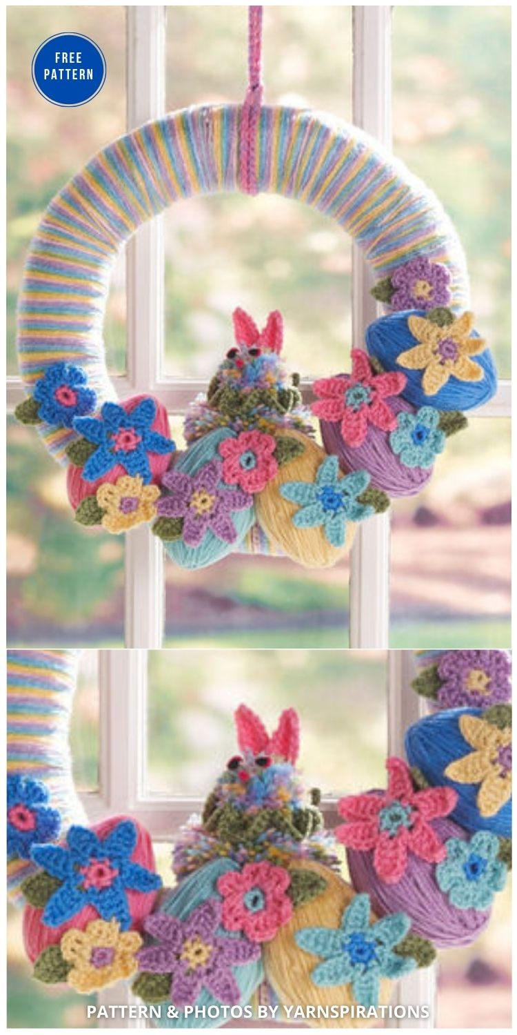 Red Heart Easter Bunny Wreath - 11 Free Spring Easter Wreaths Crochet Patterns