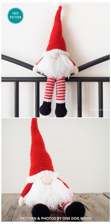 Scandinavian Santa Gnome Amigurumi - 9 Free Winter Gnomes Crochet Patterns