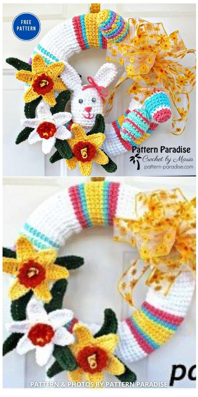 Spring Wreath - 11 Free Spring Easter Wreaths Crochet Patterns