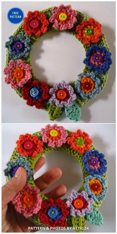 Springtime Wreath - 11 Free Spring Easter Wreaths Crochet Patterns