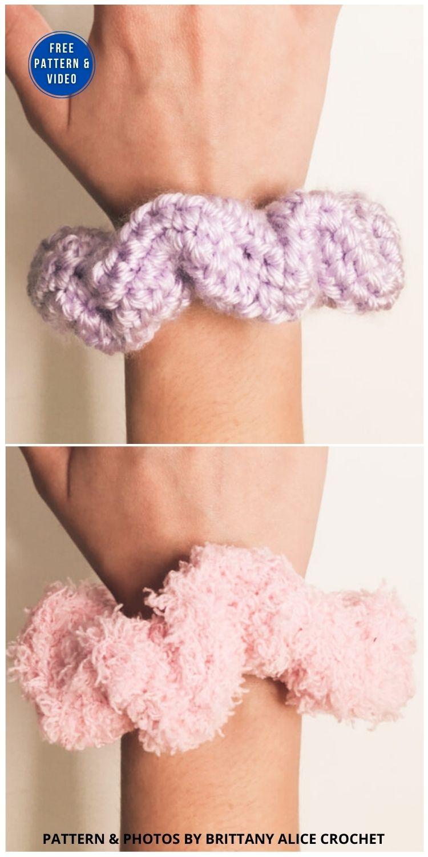 VSCO Scrunchies _ DIY Crochet Scunchie 2 Ways - 15 Free Crochet Scrunchies