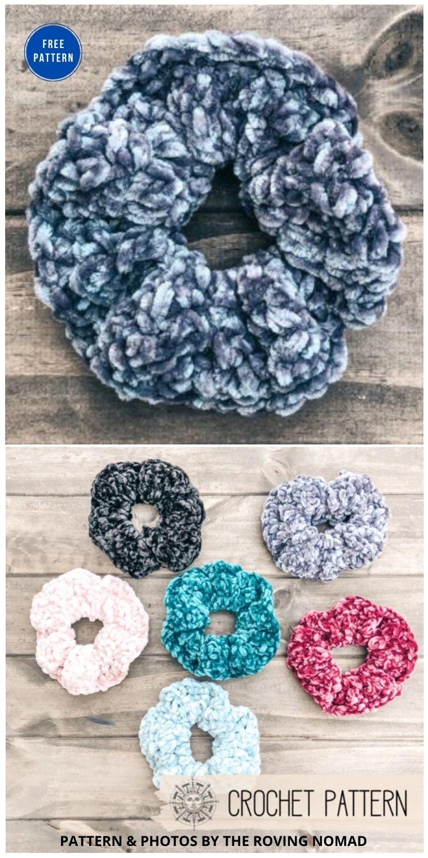 Velvet Hair Scrunchie - 15 Free Crochet Scrunchies
