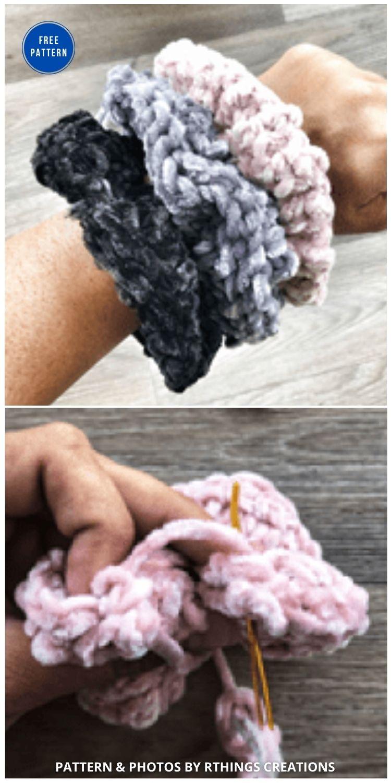Velvet Scrunchie - 15 Free Crochet Scrunchies