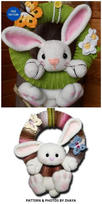 Wreath Animals - 11 Free Spring Easter Wreaths Crochet Patterns