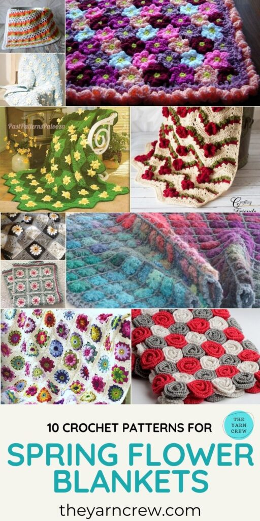 10 Crochet Patterns For Spring Flower Blankets - PIN3