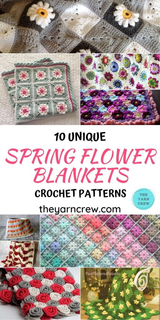 10 Unique Spring Flower Blankets Crochet Patterns - PIN1