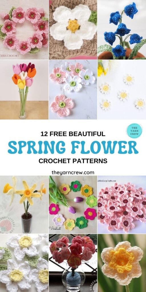 12 Beautiful Spring Flower Crochet Patterns - PIN1