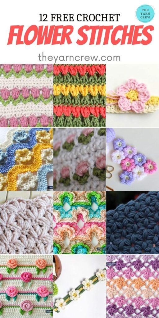 12 Free Crochet Flower Stitches - PIN2