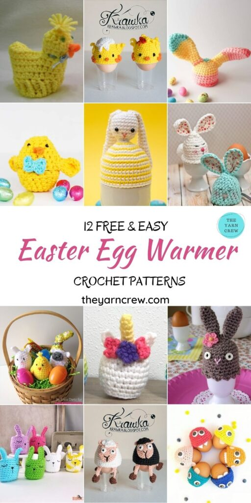 12 Free & Easy Easter Egg Warmer Crochet Patterns - PIN1