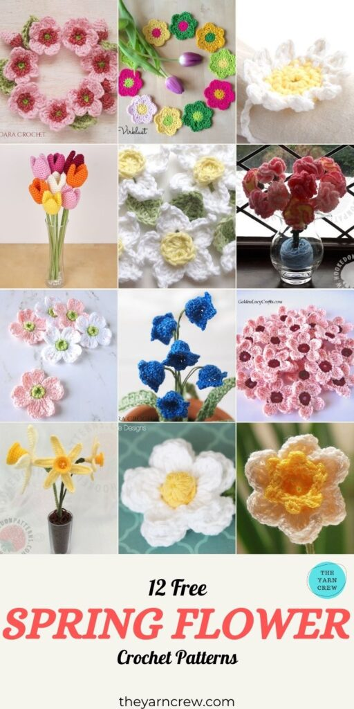 12 Free Spring Flower Crochet Patterns - PIN3