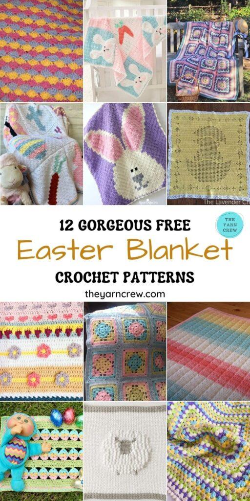 12 Gorgeous Free Easter Blanket Crochet Patterns - PIN1