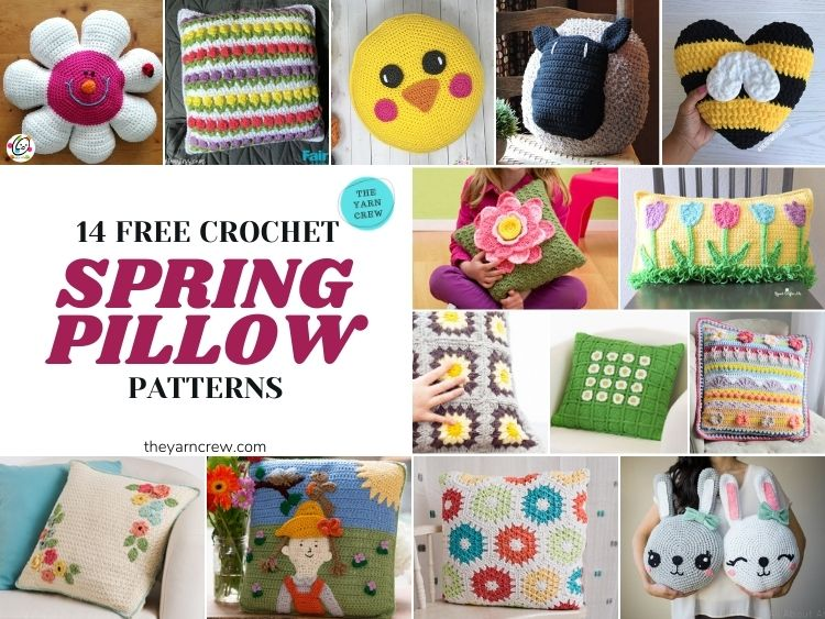 14 Free Crochet Spring Pillow Patterns - FB POSTER