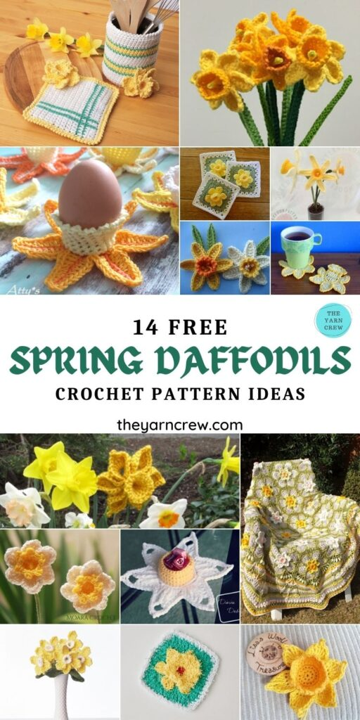 14 Free Spring Daffodils Crochet Pattern Ideas - PIN1