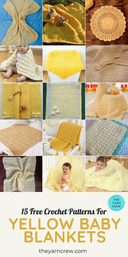 15 Free Crochet Patterns For Yellow Baby Blankets - PIN3