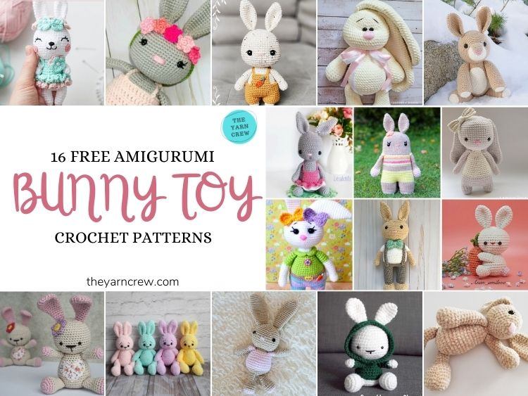 16 Free Amigurumi Bunny Toy Crochet Patterns - FB POSTER