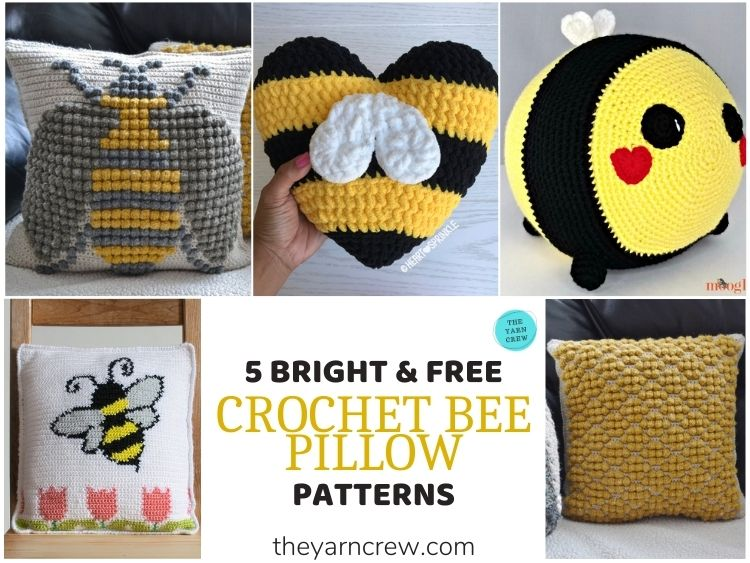 5 Bright & Free Crochet Bee Pillow Patterns - FB POSTER
