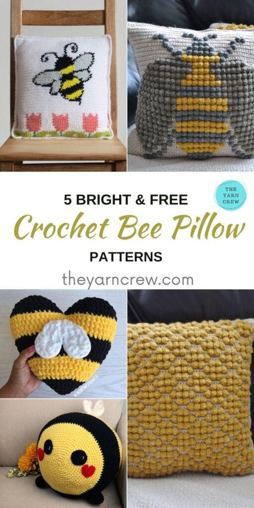 5 Bright & Free Crochet Bee Pillow Patterns - PIN1