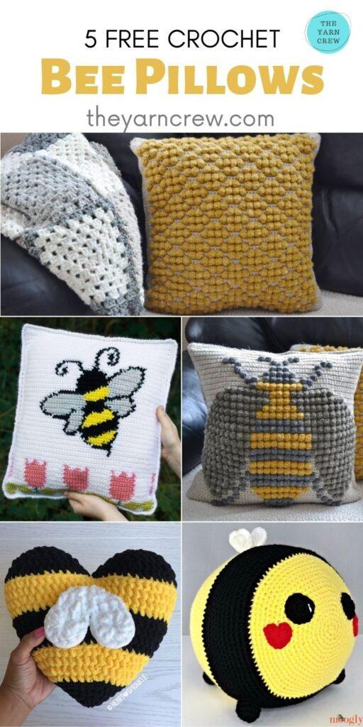 5 Free Crochet Bee Pillows - PIN2