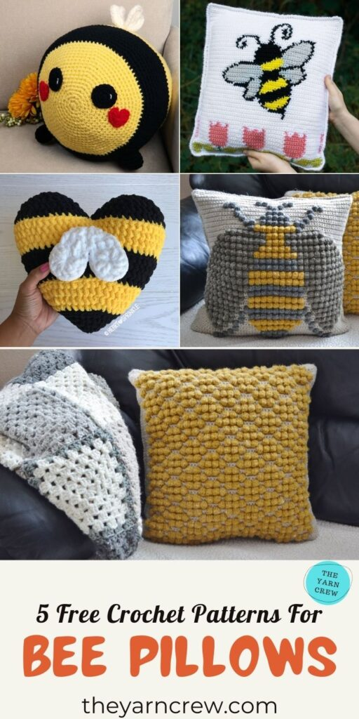 5 Free Crochet Patterns For Bee Pillows - PIN3