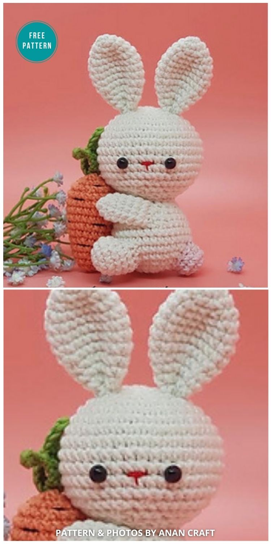 Amigurumi Keychain Rabbit - 16 Free Amigurumi Bunny Toy Crochet Patterns