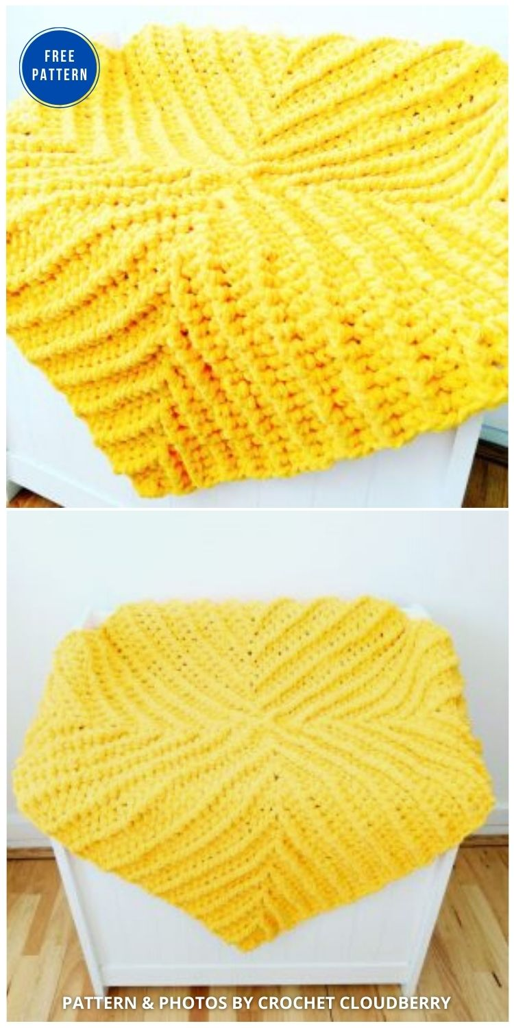 Baby Blanket with Chenille Yarn - 15 Free Yellow Baby Blanket Crochet Patterns