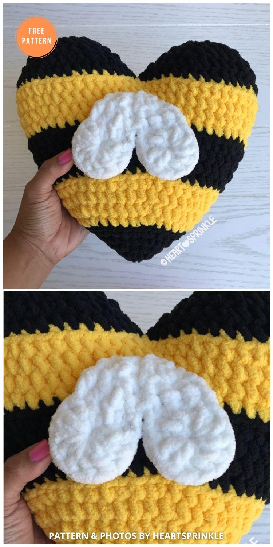 Bee Heart Pillow Mod - 14 Free Crochet Spring Pillow Patterns
