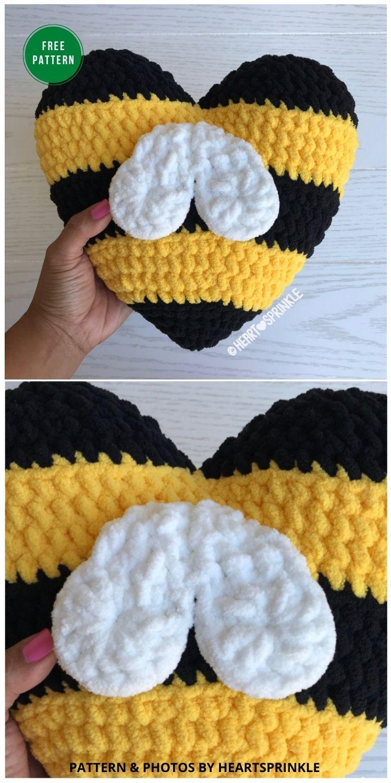Bee Heart Pillow Mod - 5 Bright & Free Crochet Bee Pillow Patterns