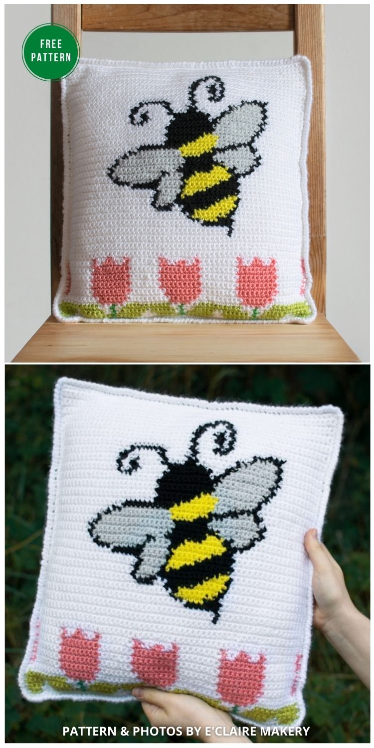 Bee Pillow - 5 Bright & Free Crochet Bee Pillow Patterns - INDIVIDUAL