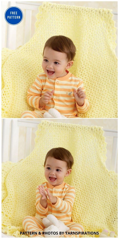 Bernat Lace Border Blanket - 15 Free Yellow Baby Blanket Crochet Patterns