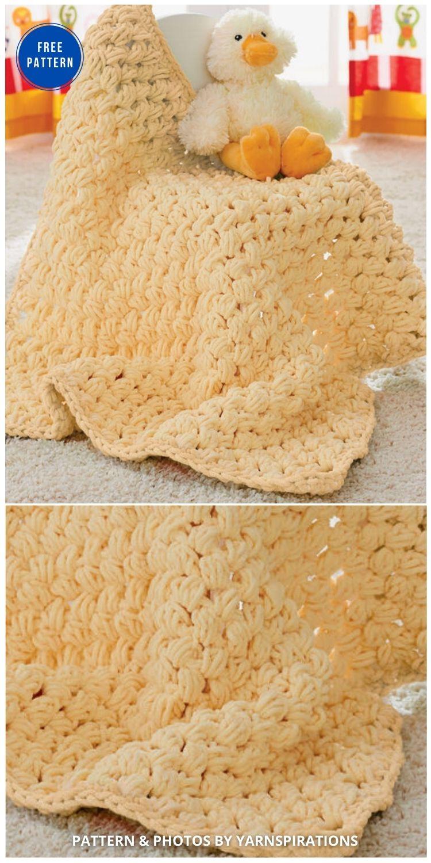 Bernat Puffy Blanket - 15 Free Yellow Baby Blanket Crochet Patterns