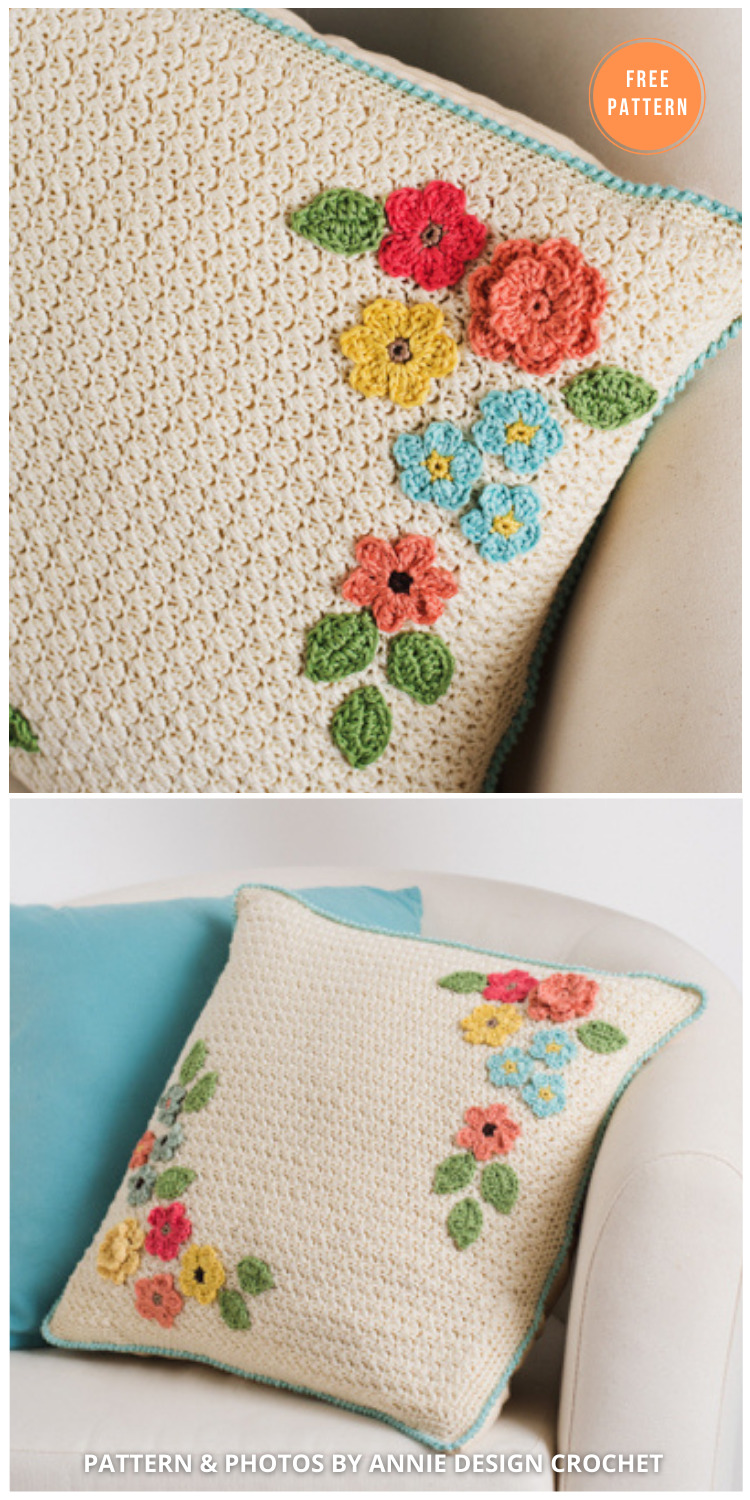 Bloom Brilliantly Pillow - 14 Free Crochet Spring Pillow Patterns - INDIVIDUAL