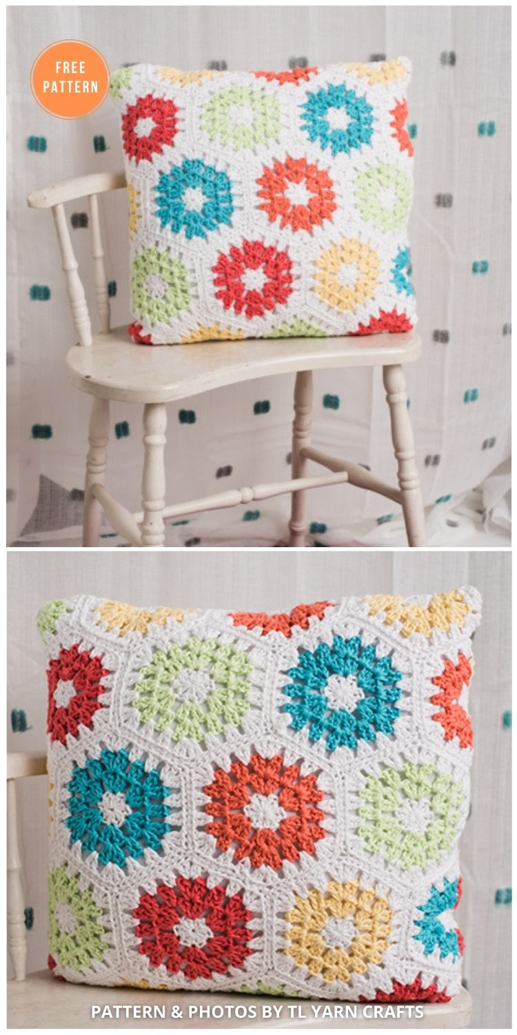 Bright and Early Hexagon Pillow - 14 Free Crochet Spring Pillow Patterns