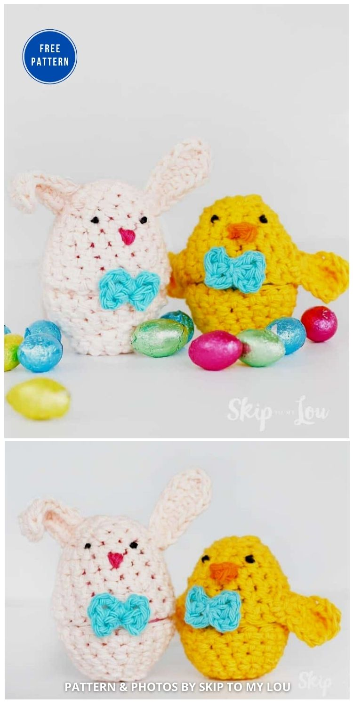 Bunny and Chick Crochet Easter Egg Covers - 12 Easy Easter Egg Warmer Crochet Patterns