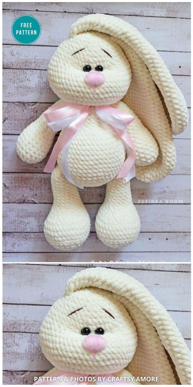 Crochet Big Flappy Ear Bunny Amigurumi - 16 Free Amigurumi Bunny Toy Crochet Patterns